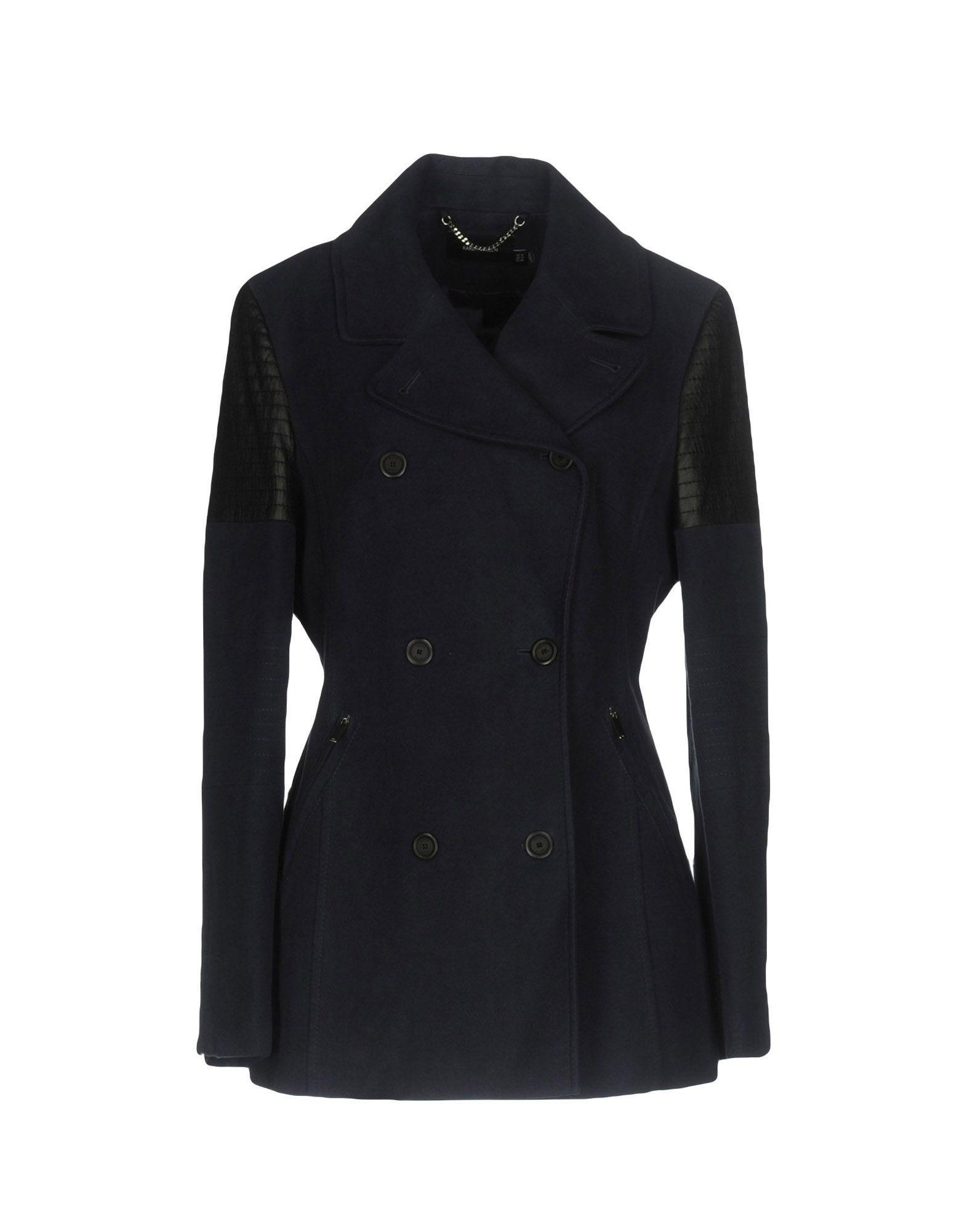 Karen Millen Double Breasted Pea Coat In Dark Blue