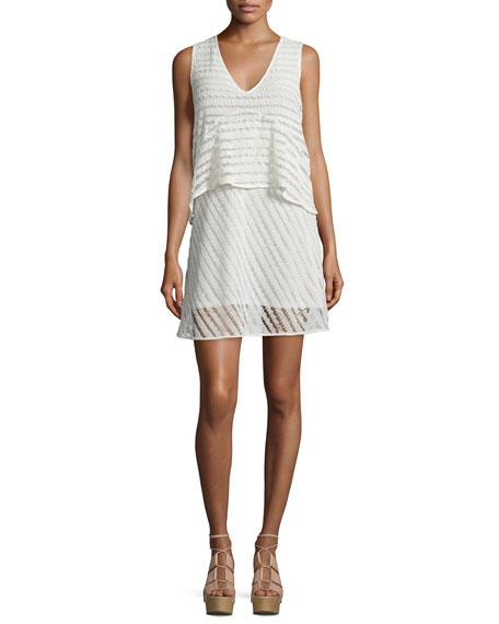 See By ChloÉ Sleeveless Sheer-stripe Popover Dress, White In Natural White
