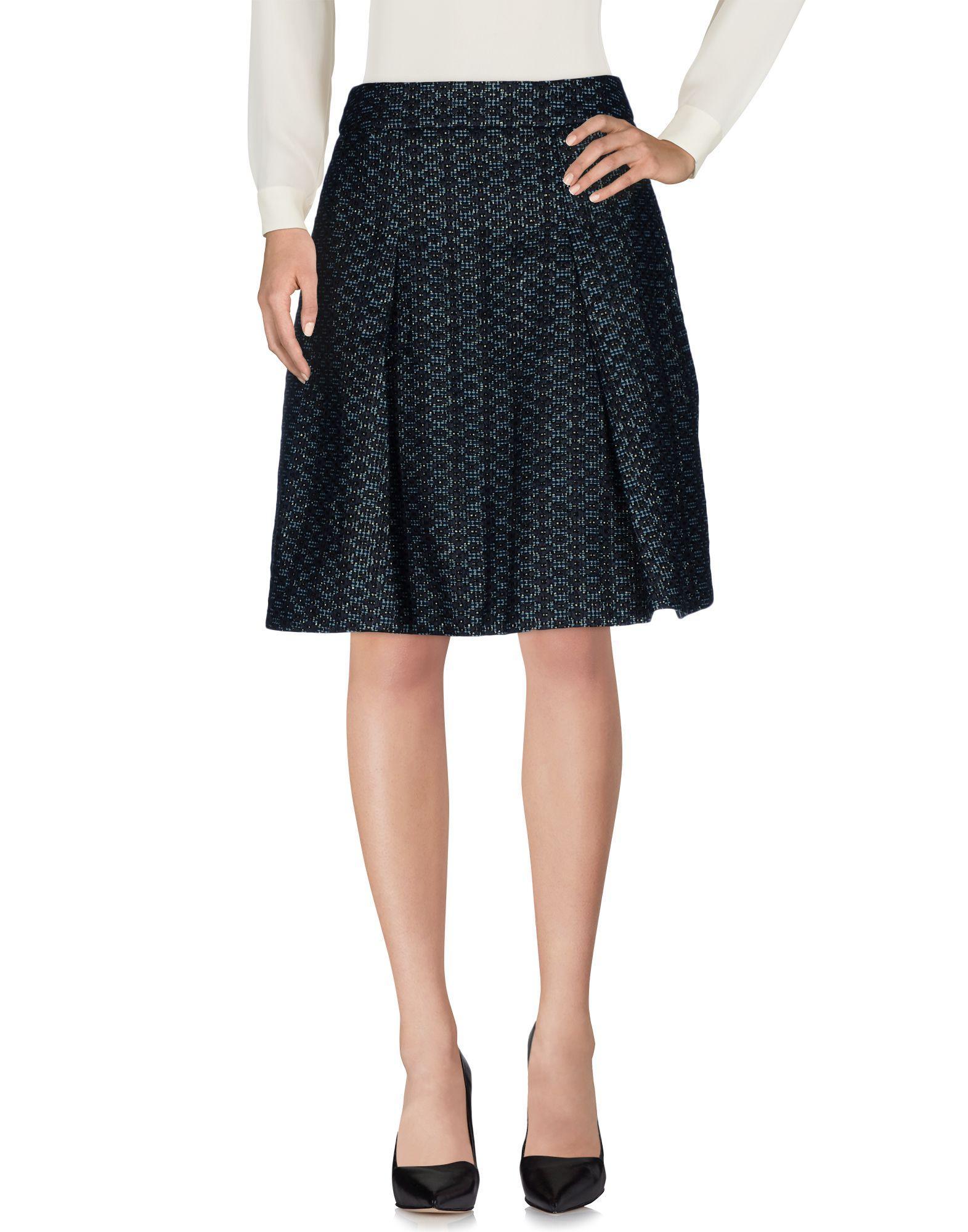 Karen Millen Knee Length Skirts In Dark Blue