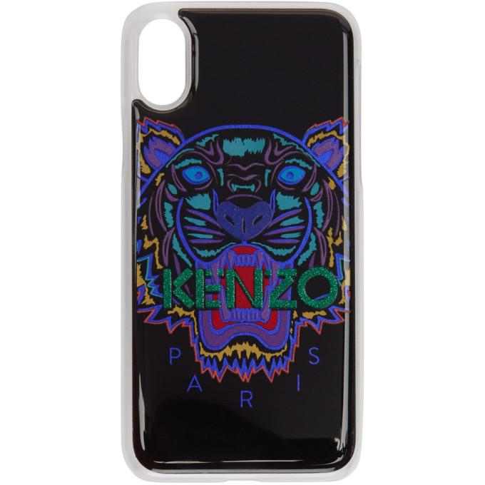 Kenzo Black And Blue Tiger Iphone X Case In 69 Cyan
