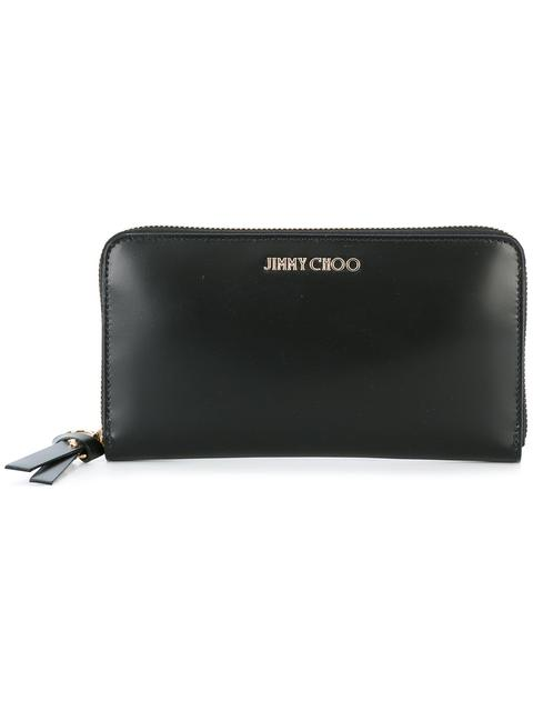 Jimmy Choo Pippa Black Soft Grained Goat Leather Zip Around Wallet