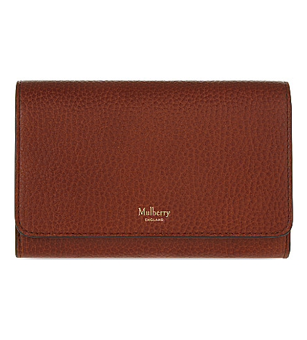 Mulberry Continental Medium Leather Wallet In Oak