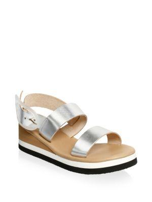 096a428fa37 Ancient Greek Sandals Clio Metallic Leather Wedge Sandals In Silver ...