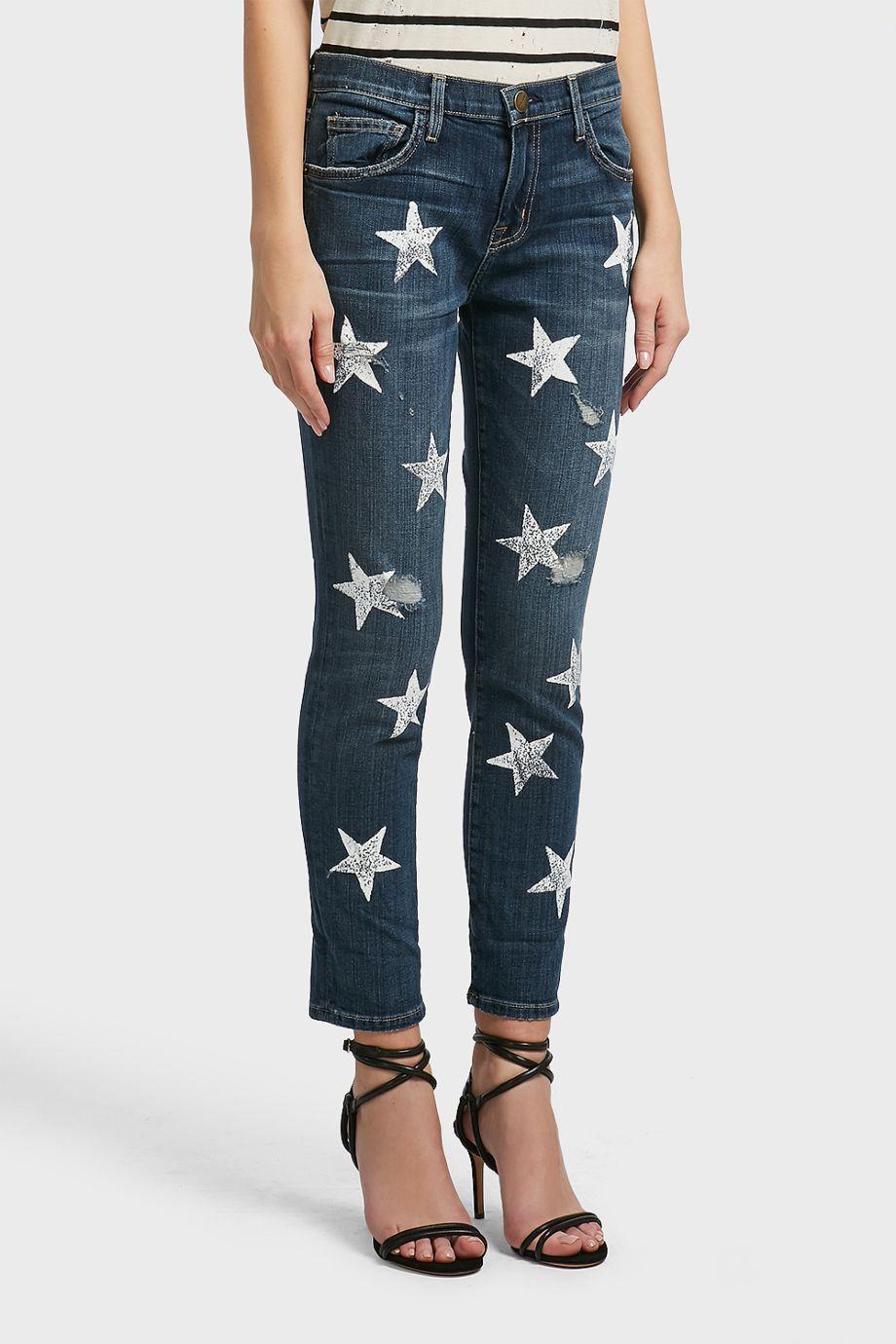700360b7891 Current Elliott Fling Star Print Jeans In Blue | ModeSens