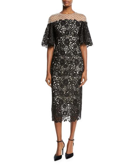 Monique Lhuillier Half-Sleeve Lace Midi Cocktail Dress In White/Black