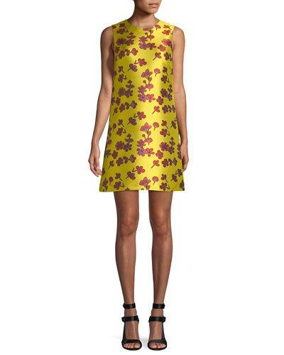 Alice And Olivia Coley Sleeveless Floral-Jacquard A-Line Dress In Sunflower/Poppy