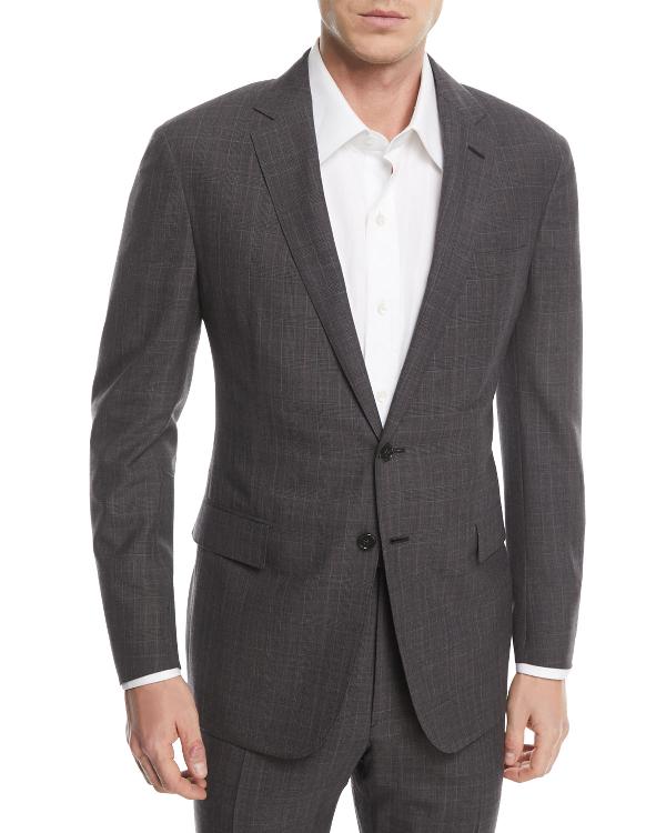 Ralph Lauren Two-Piece Glen Plaid Wool Suit In Charcoal