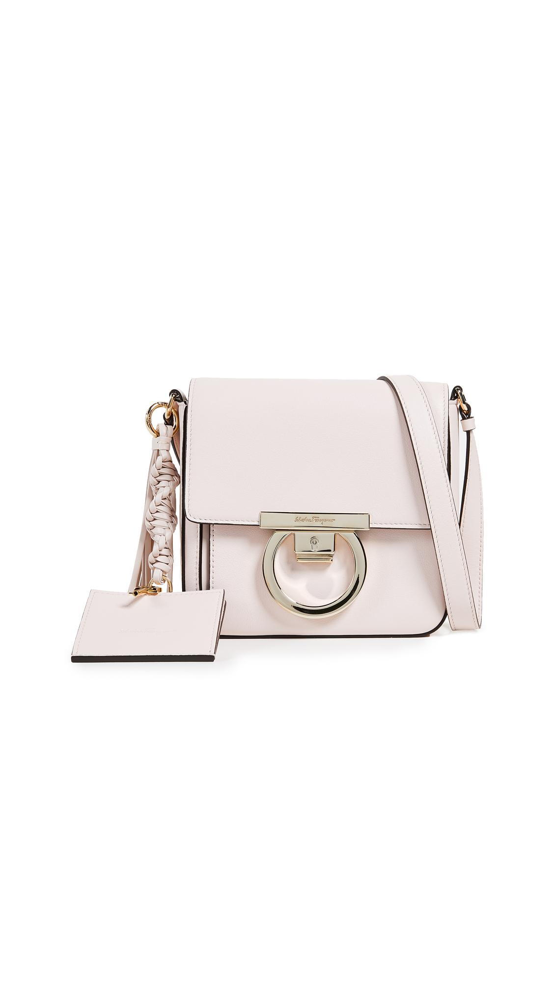 Salvatore Ferragamo Gancio Lock Leather Crossbody Bag - White In Jasmine  Flower 98699ab89e433