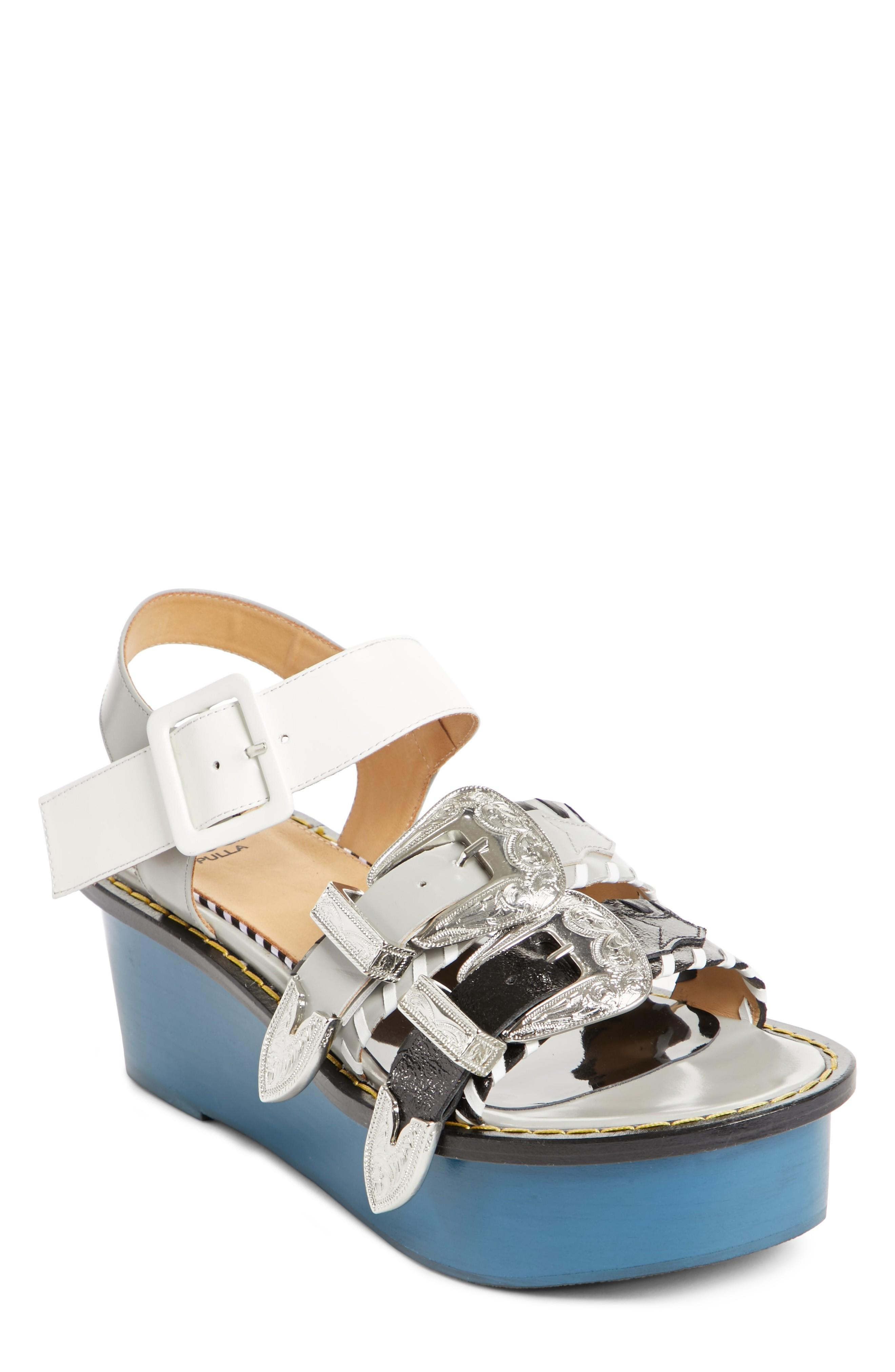 6bb9f6be16b9 Toga Colorblock Triple Strap Platform Sandal In Navy Mix
