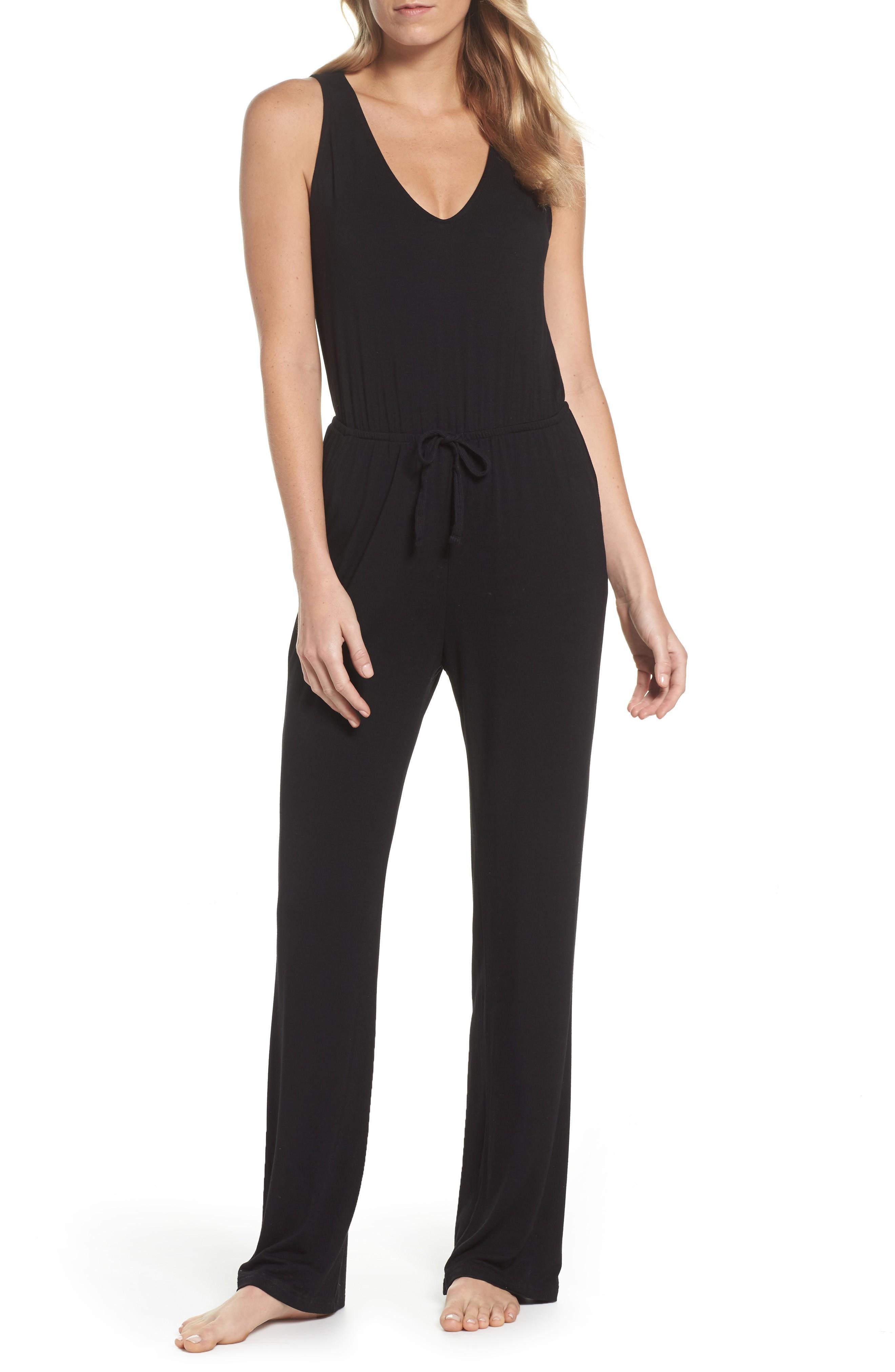 Bb Dakota Catalina Knit Lounge Jumpsuit In Black