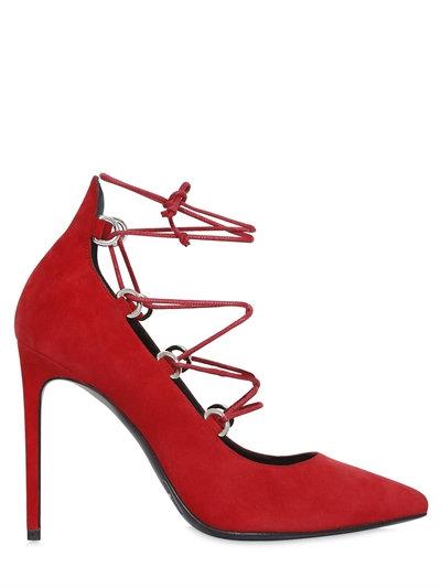 Saint Laurent 105mm Paris Skinny Lace-up Suede Pumps In Dark Red