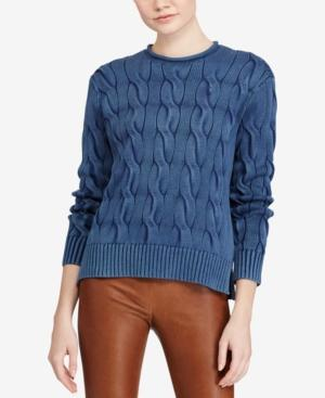 Polo Ralph Lauren Cable-Knit Cotton Sweater In Navy