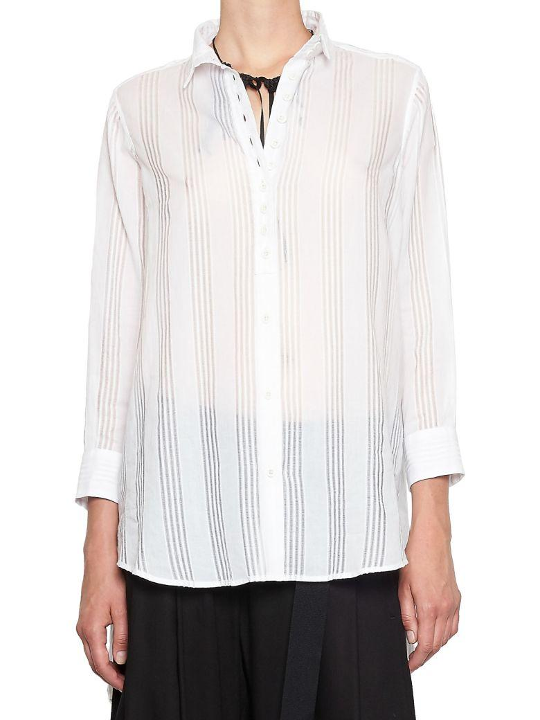 Ann Demeulemeester Striped Longline Shirt In White