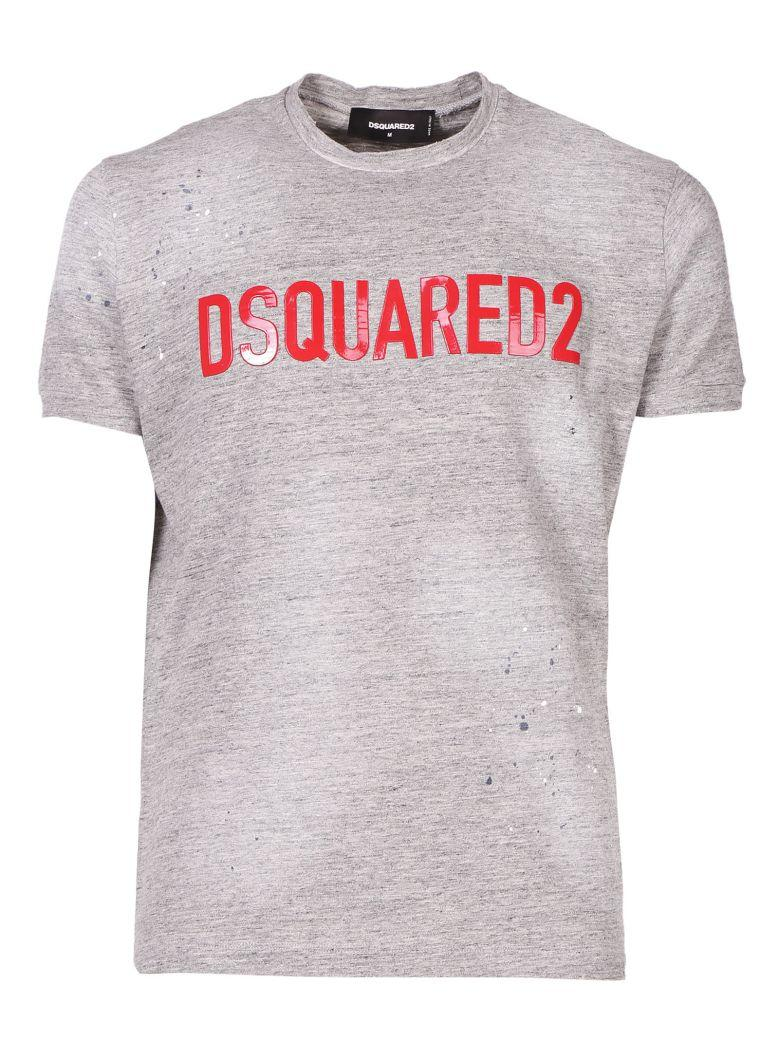 Dsquared2 Logo Applique T-Shirt In Grey Melange