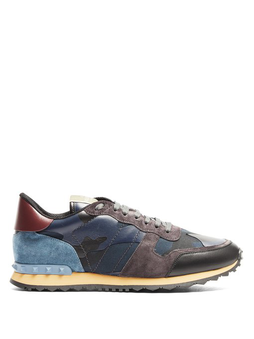 58c26e49ab313 Valentino Rockrunner Camouflage Suede And Leather Trainers In Navy Multi