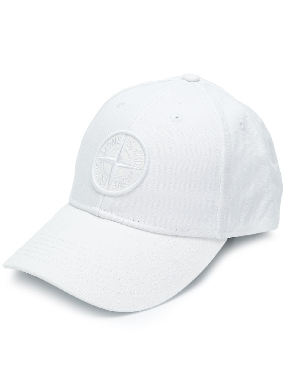 5028ac1aa4e9b Stone Island Compass Logo Baseball Cap In White
