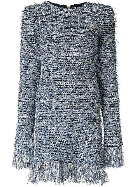 Balmain Fringed Mini Dress - Blue