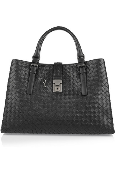 Bottega Veneta Roma Medium Woven Compartment Tote Bag, Nero In Black