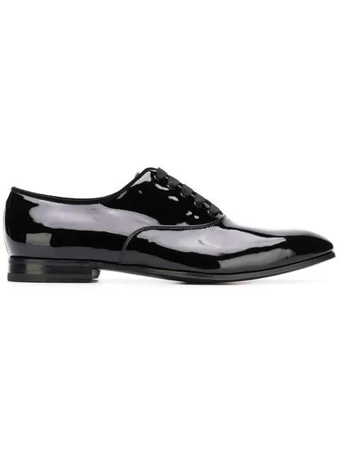 Salvatore Ferragamo Men's Belshaw Patent Lace-Up Balmoral Dress Shoe In Black