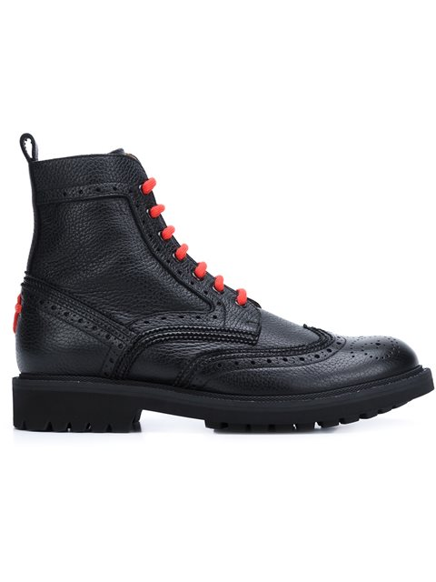 Givenchy Leather Wing-tip Combat Boot With Contrast Laces, Black