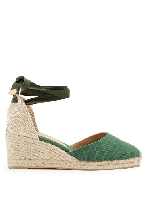 e4d97adfb34b CastaÑEr Carina Canvas Wedge Espadrilles In Green