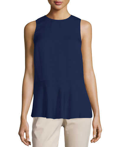 Theory Zabetha Sleeveless Georgette Back-wrap Shell Top In Blue