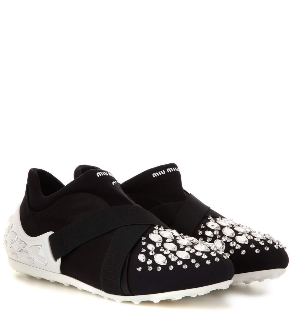 Miu Miu Swarovski Crystal Cap Toe Sneakers In Eero