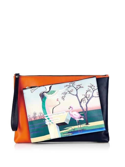 Mary Katrantzou Flamingo-Print Detachable Leather Clutch In Orange And Black Colour-Block