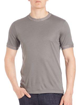 Giorgio Armani Stripe Accented Short Sleeve Tee In Light Grey