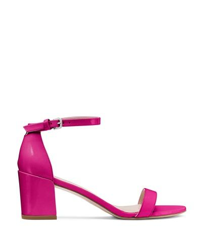 Stuart Weitzman The Simple Sandal In Cyclamen Pink Patent