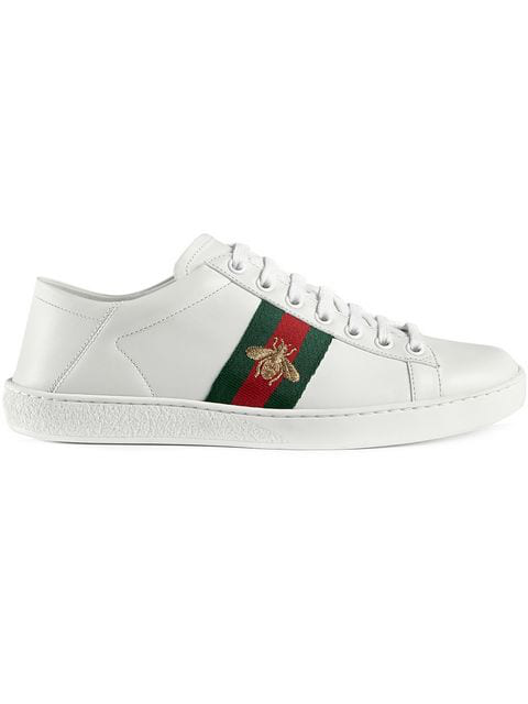 3d719652b Gucci Ace Embroidered Leather Collapsible-Heel Sneakers In White ...