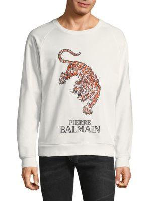 1324abd8 Pierre Balmain Big Tiger Crewneck In White | ModeSens