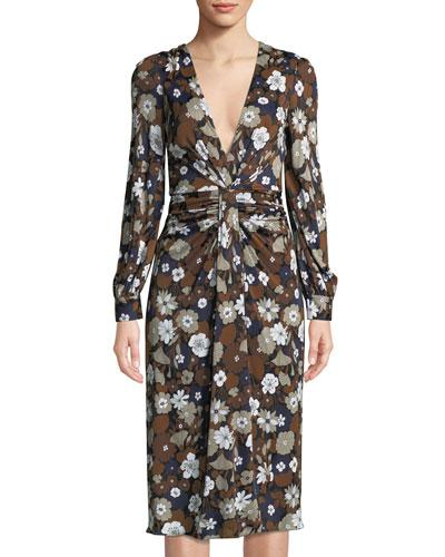 Michael Kors Woman Ruched Floral-Print Jersey Dress Multicolor