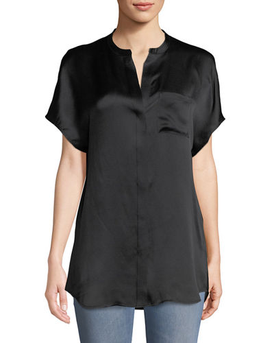 d94873be0b5f86 Vince Silk Split-Back Short-Sleeve Popover Top In Black | ModeSens