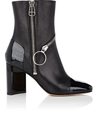 Maison Margiela Asymmetric-Heel Leather Ankle Boots