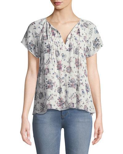 0f807cef688df9 Joie Etaina B Short-Sleeve Floral-Print Silk Top In Pink