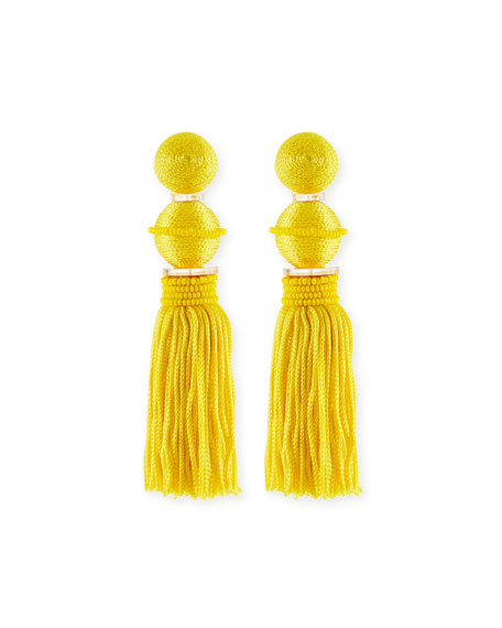 Oscar De La Renta Beaded Ball Tassel Clip-On Earrings In Yellow