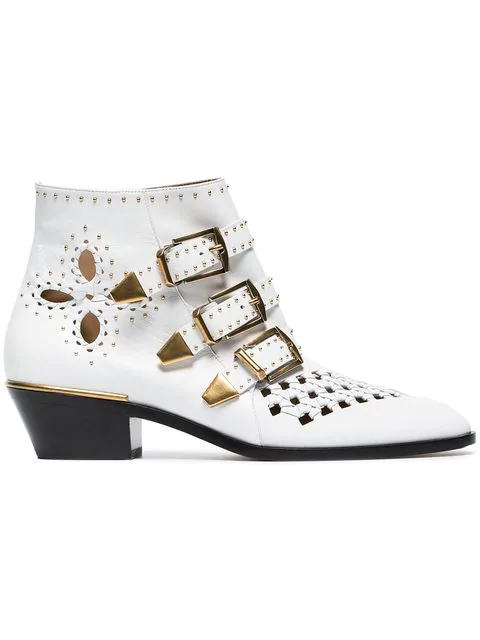 a262f7b3198 ChloÉ Susanna Cutout Studded Leather Ankle Boots In White | ModeSens