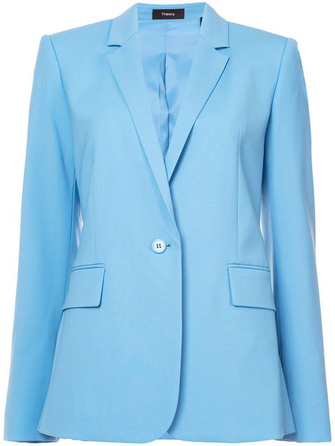 7ee056a0bb Theory Essential One-Button Stretch-Wool Jacket In Blue Robin | ModeSens