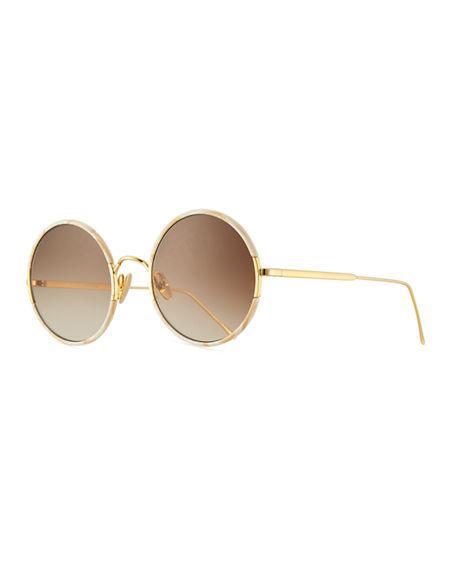 1723e9b9b Sunday Somewhere Yetti Round Laser-Cut Sunglasses In Sand | ModeSens