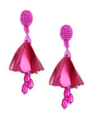 Oscar De La Renta Small Impatiens Clip-On Drop Earrings In Hot Pink
