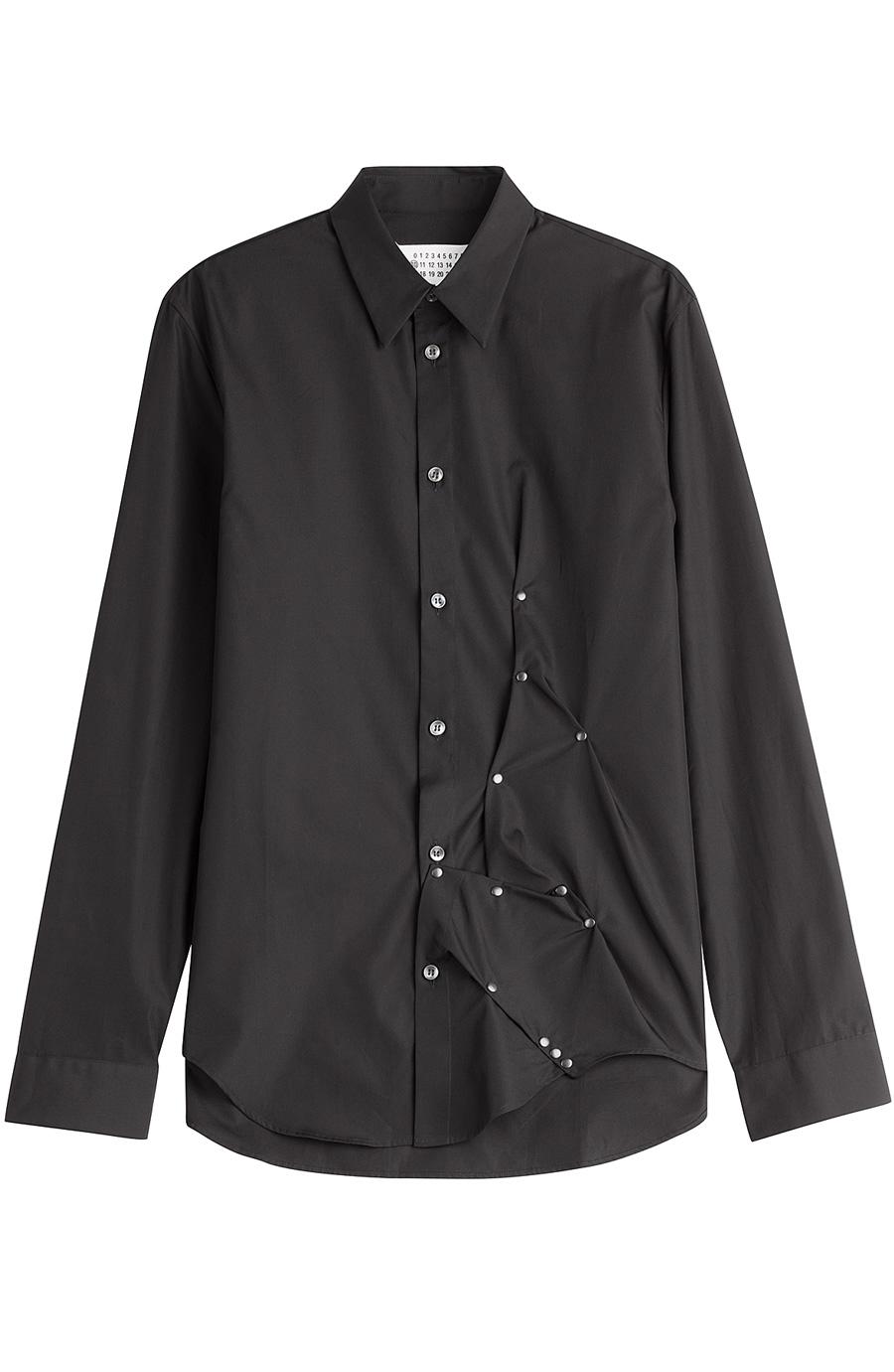 Maison Margiela Embellished Cotton Shirt In Black