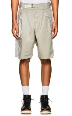 Sacai Colorblocked Twill Belted Shorts In Gray