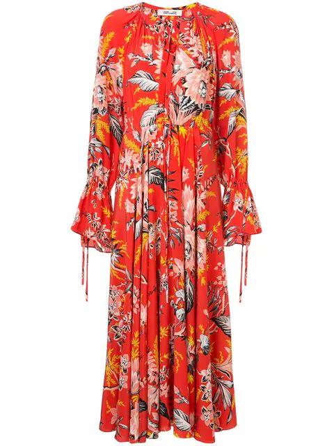 d3b92fba9290 Diane Von Furstenberg Bethany Floral-Print Silk Crepe De Chine Maxi Dress  In Yellow