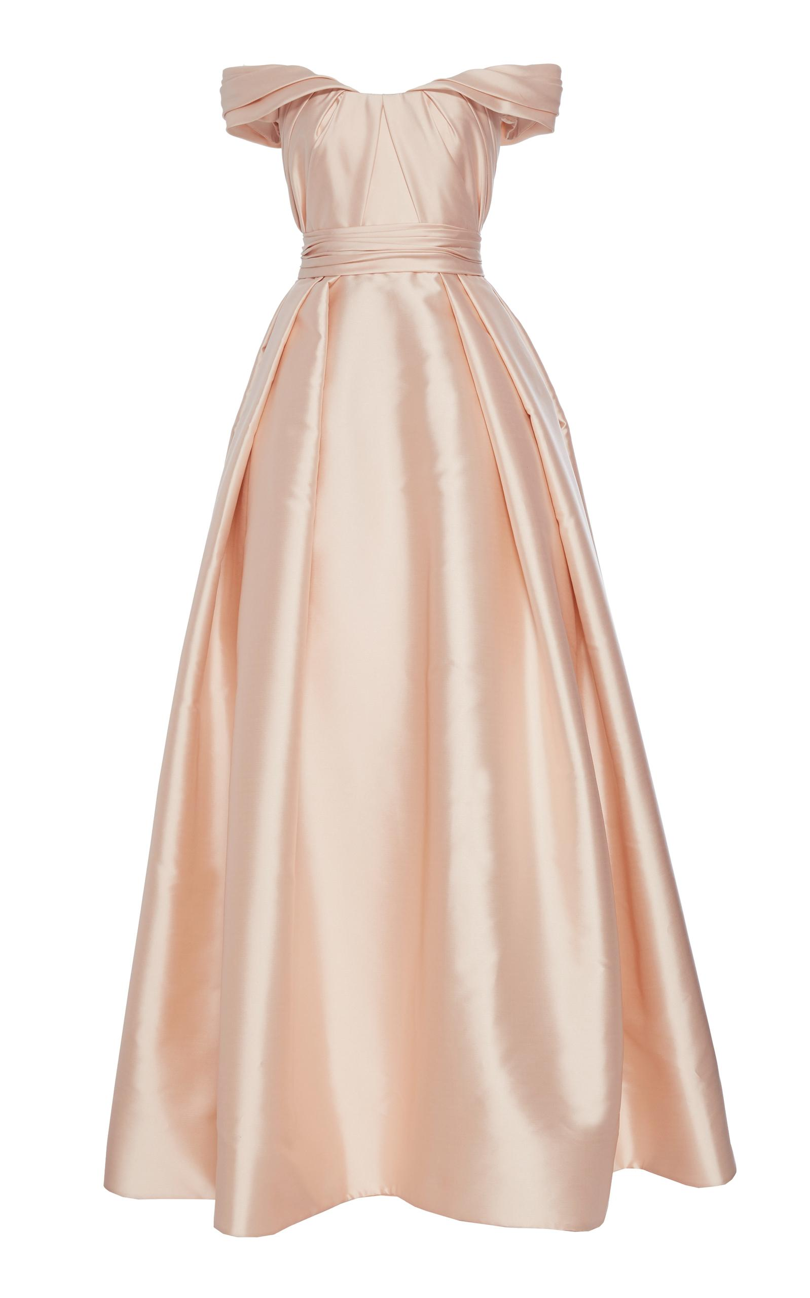 0f8dabf50f Reem Acra Draped Mikado Ball Gown With Off Shoulder Neckline In Pink ...