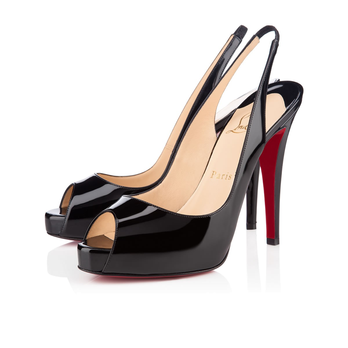 abbb658b852 Christian Louboutin Private Number Patent Peep-Toe Red Sole Slingback In  Black