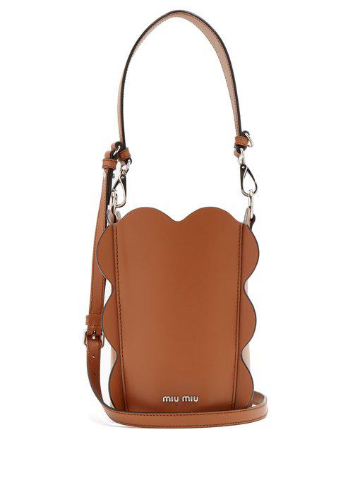8d3f90bbcca Miu Miu Scallop-Edged Leather Bucket Bag In Tan