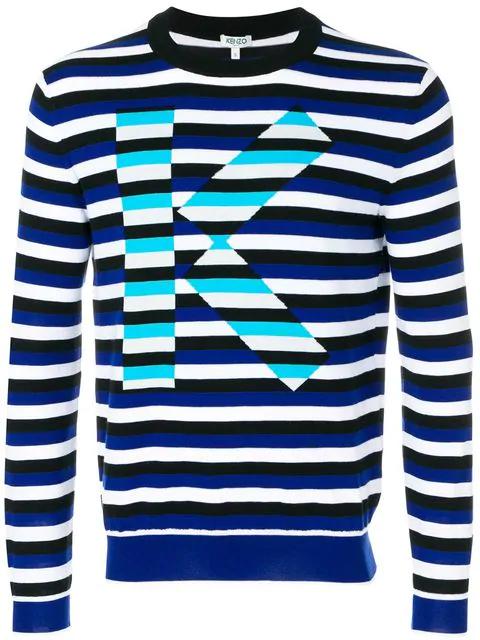 Kenzo Striped Logo Jumper In Blue