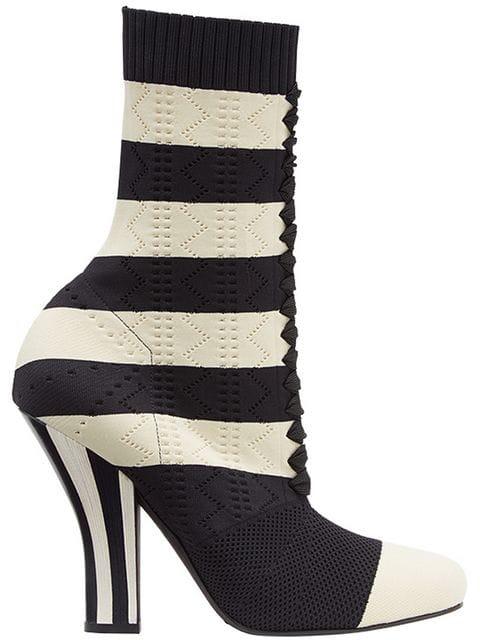 Fendi Striped Perforated Boots In Nero Crema