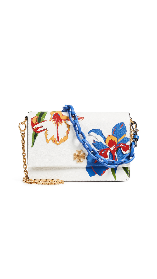 870904dcd71 Tory Burch Kira Applique Flower Leather Shoulder Bag - White In Painted Iris